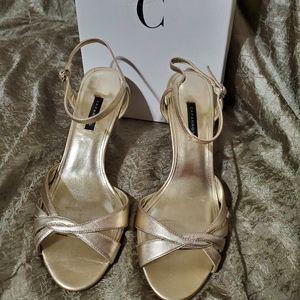 Caparros gold metal Danni heels